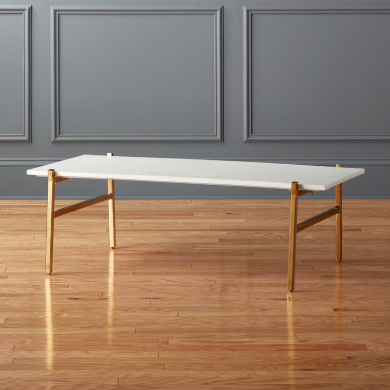 slab small marble coffee table with brass base reviews cb2