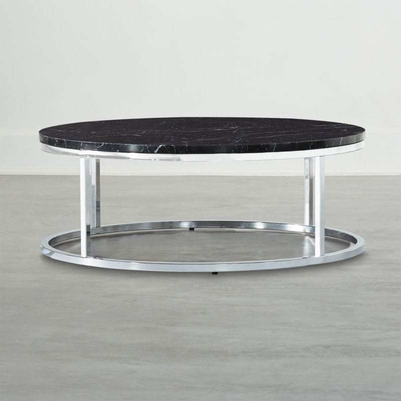 smart chrome coffee table with black marble top cb2