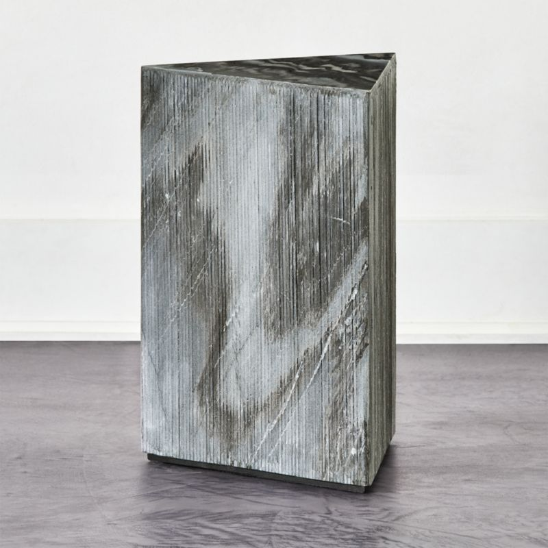 tri textured grey marble side table reviews cb2