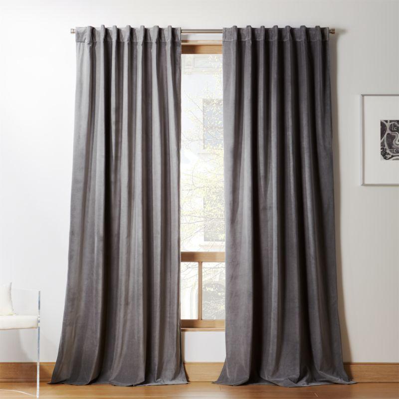 velvet graphite curtain panel cb2