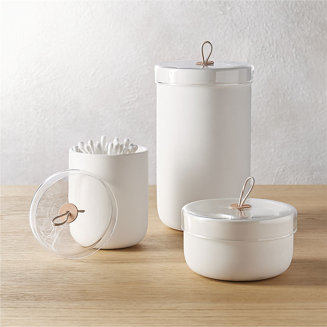 Bathroom Canisters Modern Bathroom Accessories For Stylish Vanities Cb2