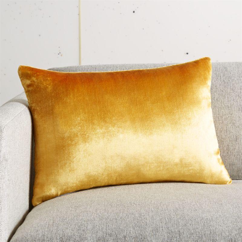 18 x12 viscose mustard velvet pillow cb2