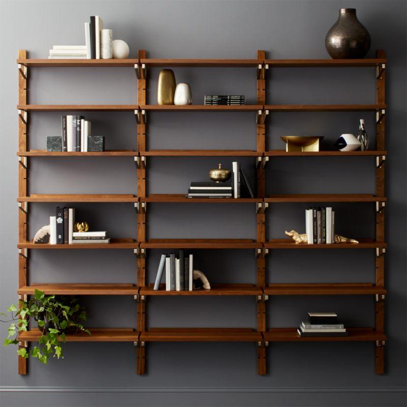 "Walnut Modular Triple Shelf 88"" + Reviews"