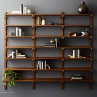 "Walnut Modular Triple Shelf 88"" + Reviews"