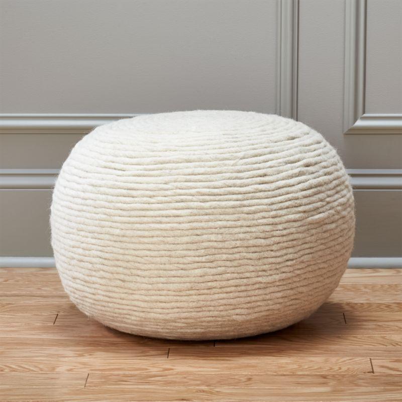 living room pouf floor ottomans cb2