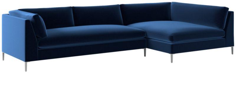 decker 2 piece navy blue velvet