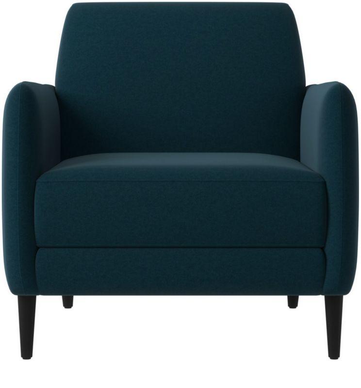 Parlour Light Blue Velvet Chair Reviews CB2