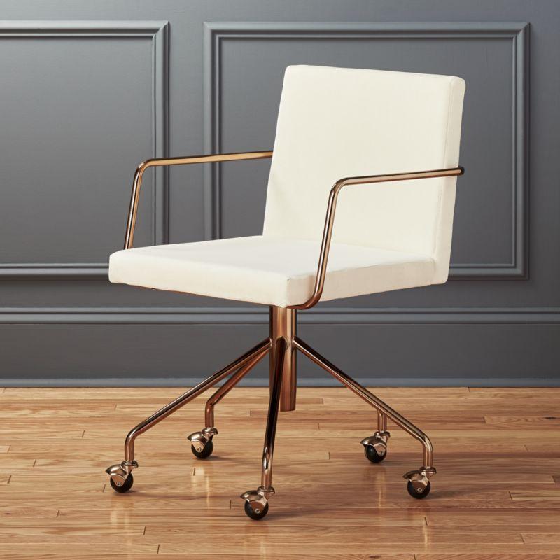 wooden white desk chair swing name rouka velvet office reviews cb2