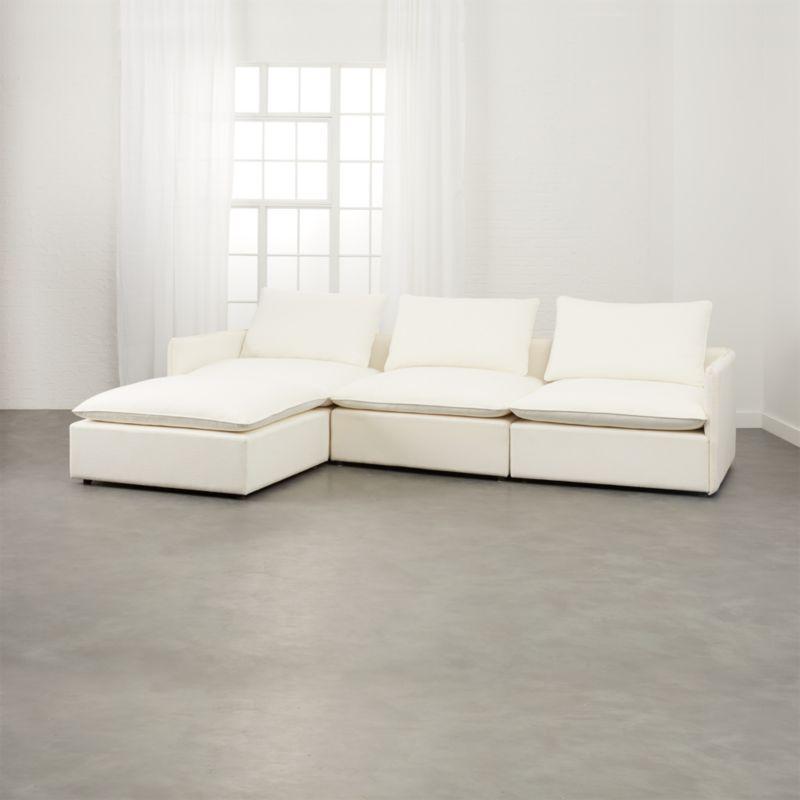 lumin white linen 4 piece sectional sofa