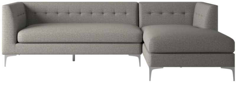 holden 2 piece grey tufted sectional loveseat