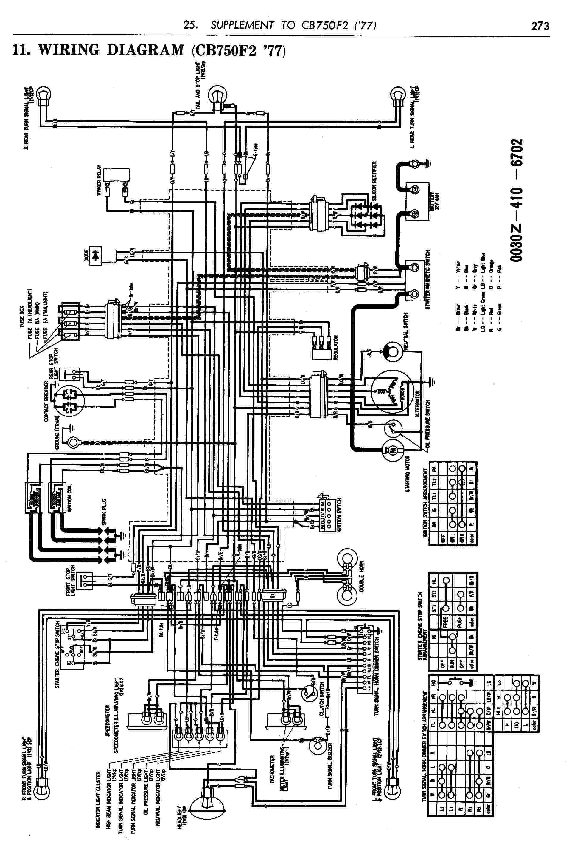 Honda Motorcycle Wiring Diagrams Cb750f2 Electrical, Honda