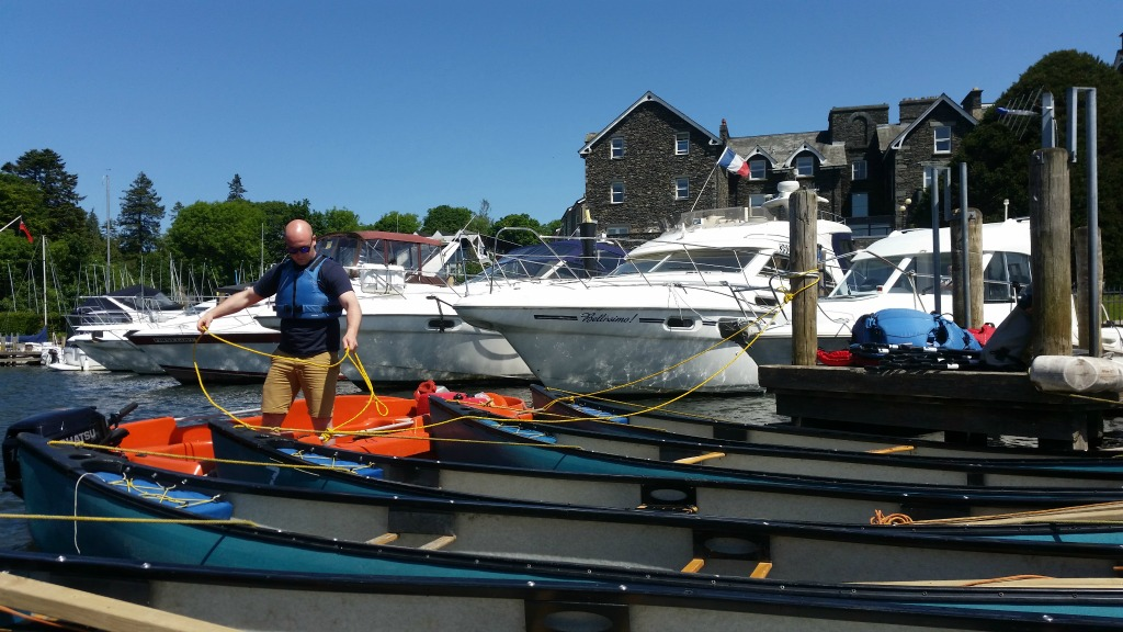 Ross tying up the canoes at Macdonald Old England