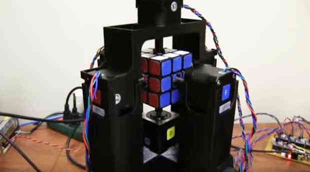 Robot solves Rubik's cube puzzle in 1.196 seconds