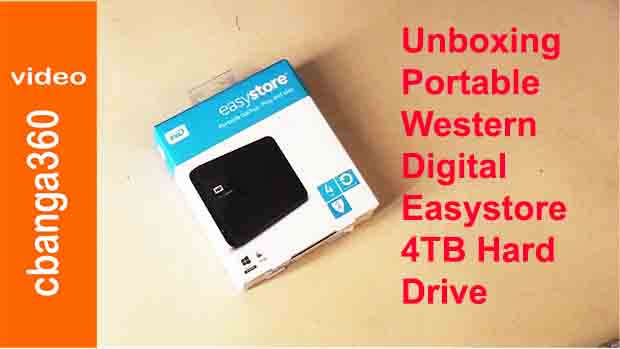 Watch unboxing of portable WD Easystore 4TB hard drive
