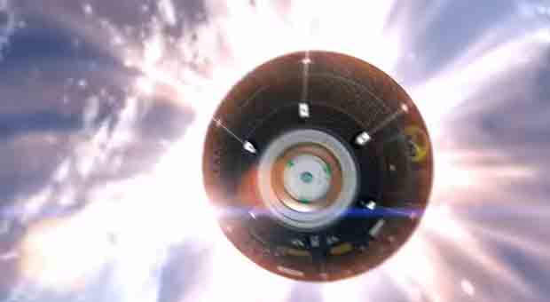 Going home: the Orion spacecraft on its route back to Earth, a screengrab from the movie as presented by NASA.