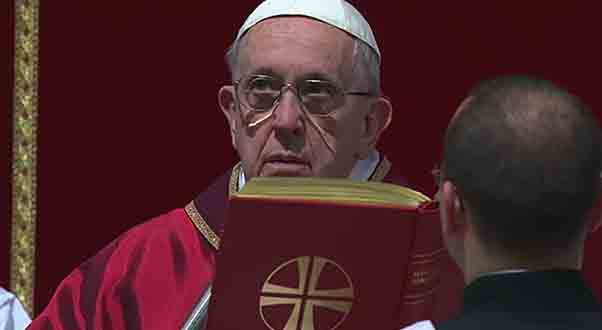 Pope Francis presides on the mass in the celebration of the Passion of Christ.