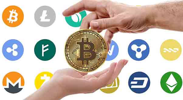 Various cryptocurrency logos.