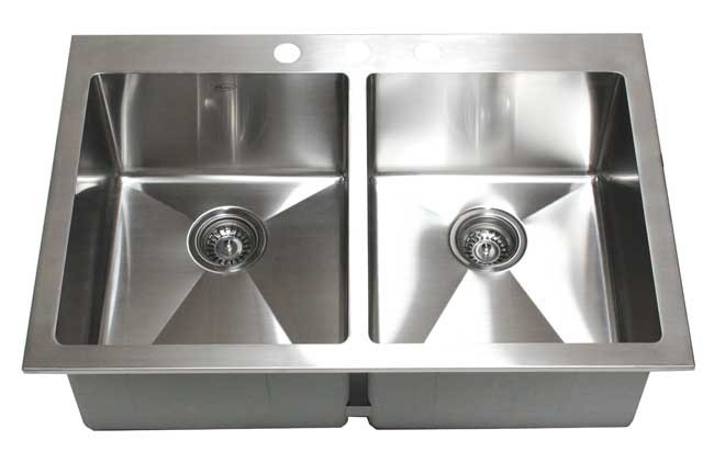 33 Inch Top-Mount / Drop-In Stainless Steel Double Bowl