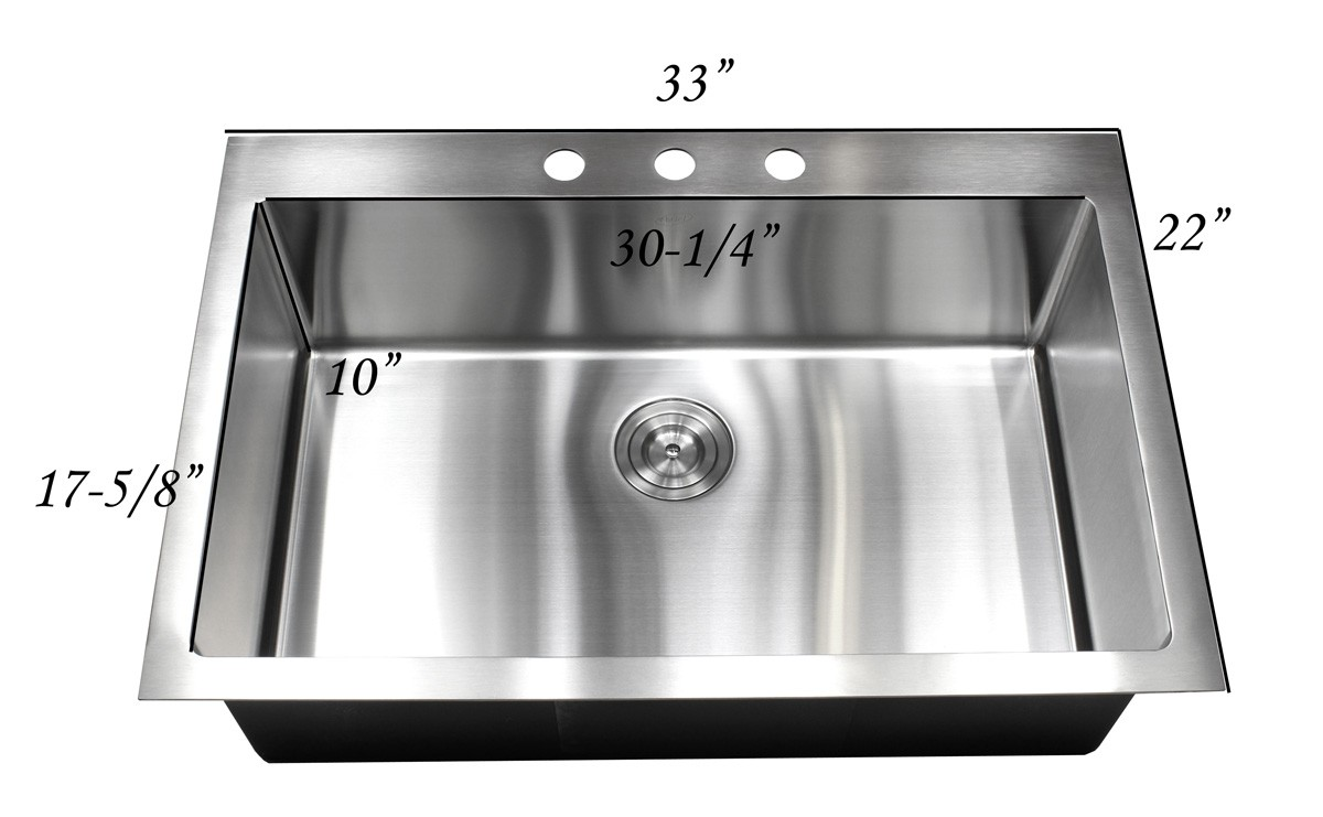 33 Inch Top-Mount / Drop-In Stainless Steel Single Bowl