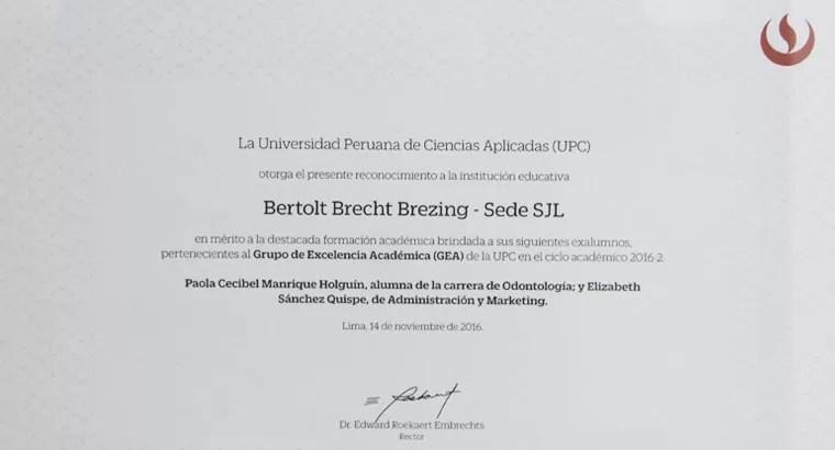 Diploma a la calidad académica 2016 otorgada al CBB por la UPC
