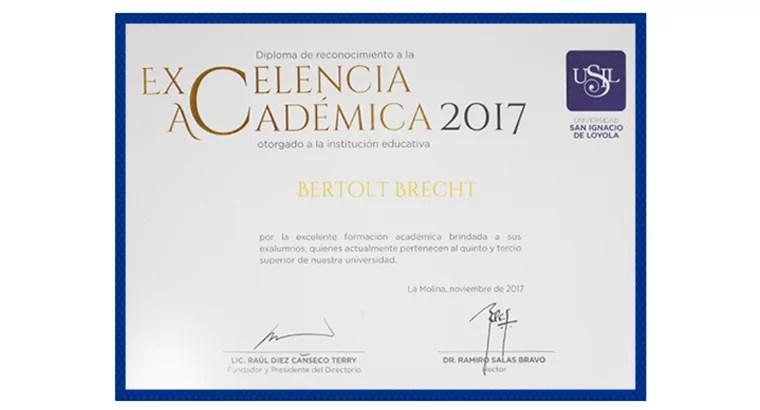 Diploma a la excelencia académica 2017 otorgado al CBB por la USIL
