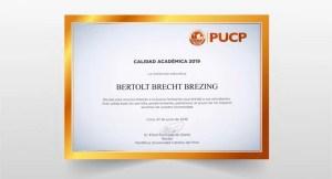 Reconocimiento a la calidad académica 2019 otorgado por la PUCP