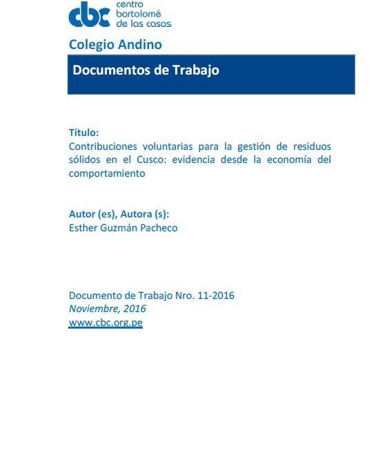 Contribuciones voluntarias para la gestión de residuos sólidos en el Cusco: evidencia desde la economía del comportamiento