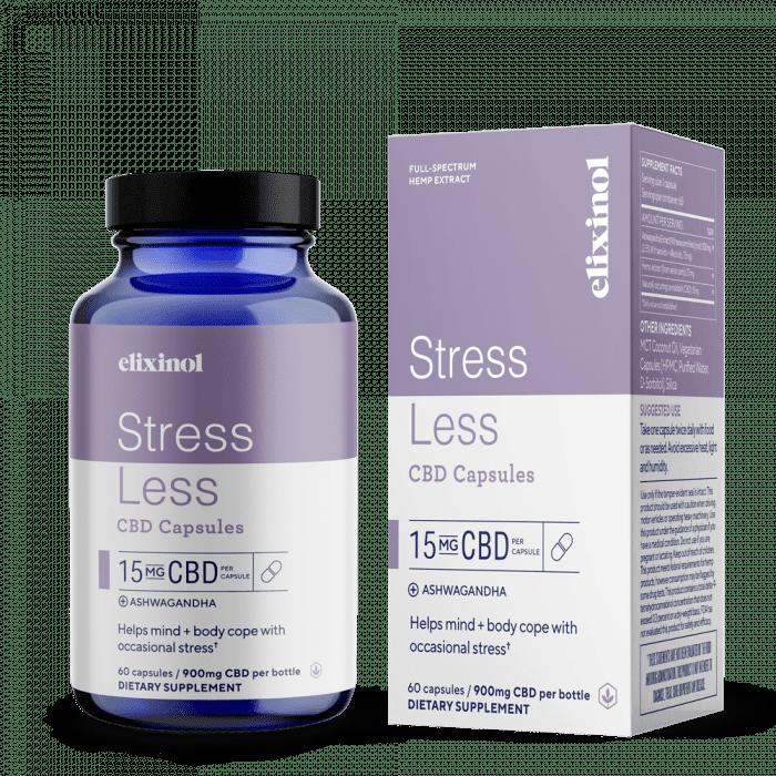 cbd oil capsules, hemp oil capsules, cbd capsules for stress, stress less cbd capsules, ashwagandha capsules, ashwagandha cbd capsules, Elixinol