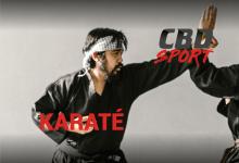 un karatéka qui effectue un mouvement de kata face à son adversaire