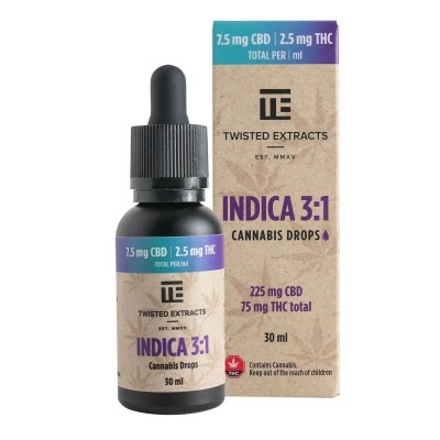 Twisted Extracts - Indica 3:1 Cannabis Oil Drops (75mg THC + 225mg CBD)