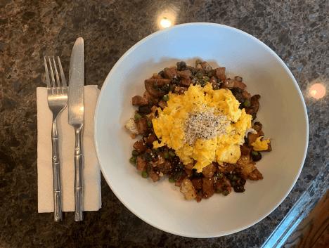 Dr. igor's turkey sausage & cauliflower hash with buttery eggs recipe