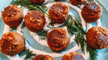 "Dr. Igor's Moroccan Spiced Hemp Heart & Chickpea ""Meatballs"""