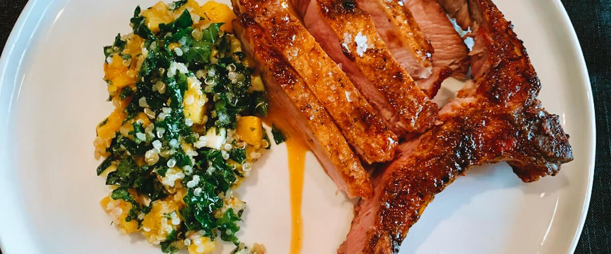Dr. Igor's Glazed Pork Chops with Squash & Hemp Heart Salad Recipe