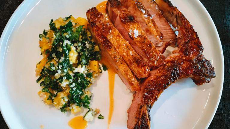 Dr. Igor's Glazed Pork Chops with Squash & Hemp Heart Salad Recipe
