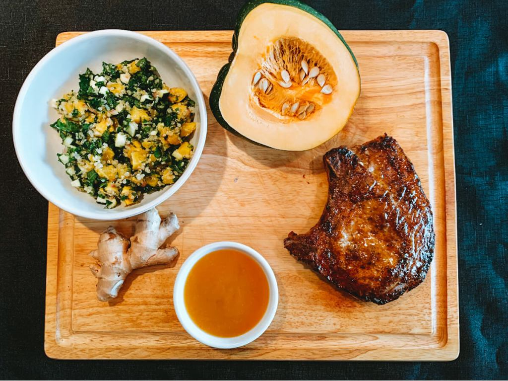 Glazed Pork Chops with Squash & Hemp Heart Salad