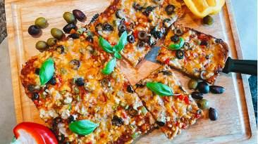 Dr. Igor's Veggie Focaccia Pizza with Red Hemp Pesto