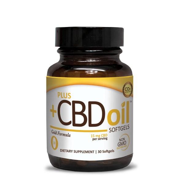 Plus CBD Oil Softgels Gold Formula 15mg CBD per Softgels (30 ct)