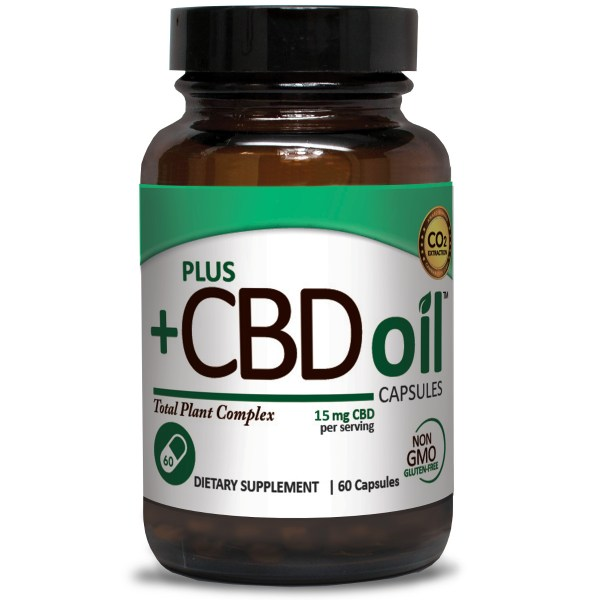 Plus CBD Oil Capsules Green Formula 15mg CBD per capsule (60 ct)