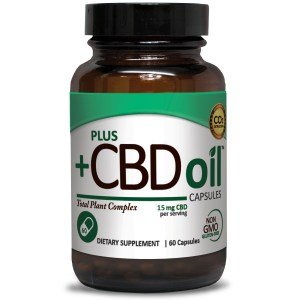 Plus CBD Oil Capsules Green Formula 15mg CBD per capsule (60 ct)