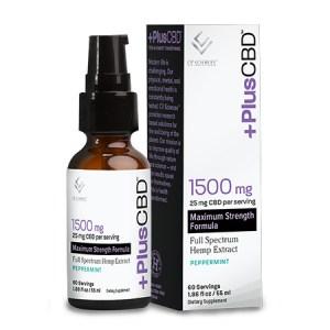 Plus CBD Oil Drops 1500mg CBD in 1.86oz bottle Peppermint Flavor