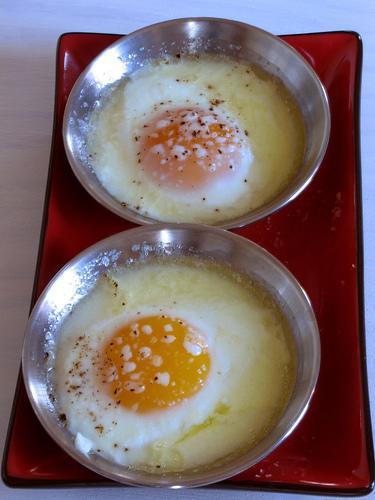 Moonshine baked eggs