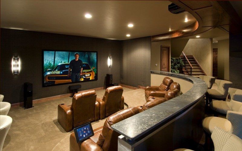 Awesome Basement Home Theater Design With Bar