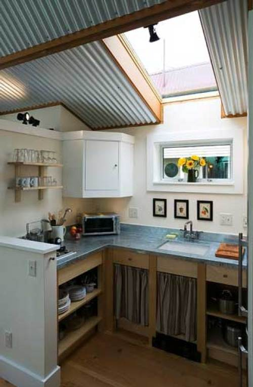 Tiny Kitchen with Skylight