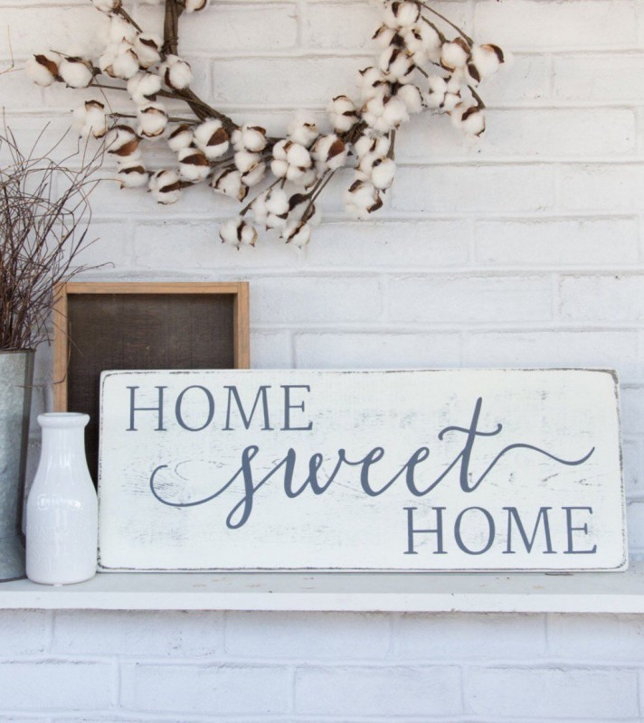 Whitewashed Home Sign