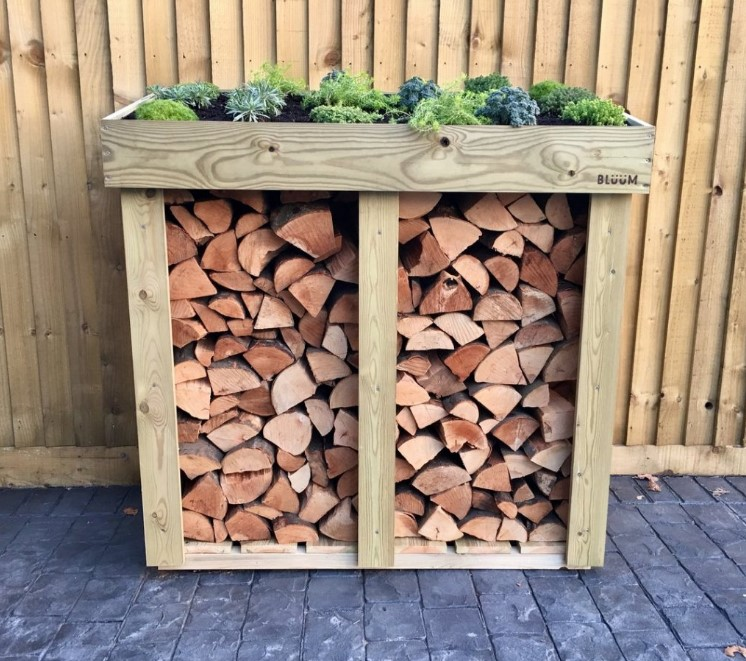 Firewood Storage with Roof Planter