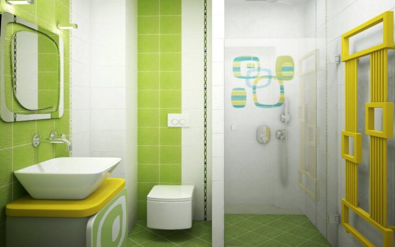 green bathroom design for kids