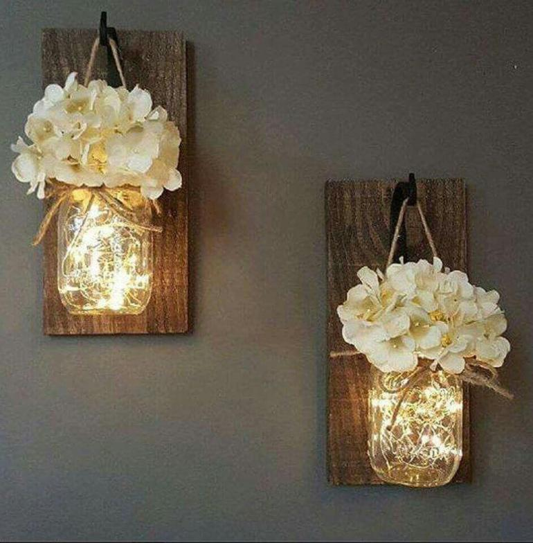 Rustic Home Decor Glowing Mason Jar
