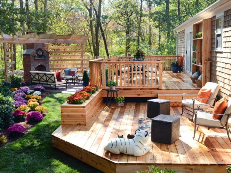 garden ideas decking and paving