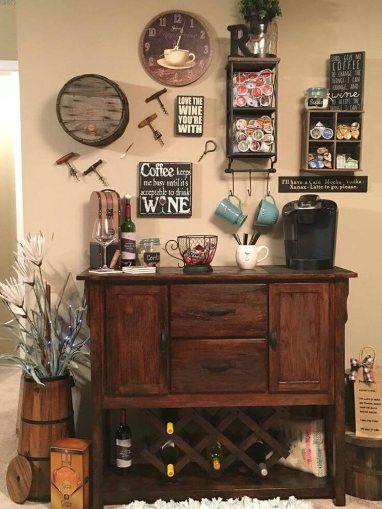 For all coffee lovers 20 charming coffee station for Wine shop decoration