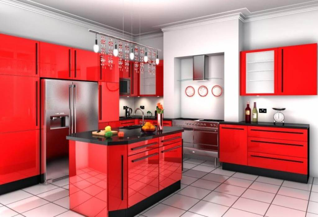 Stunning Red Kitchen Design And Decorating Ideas